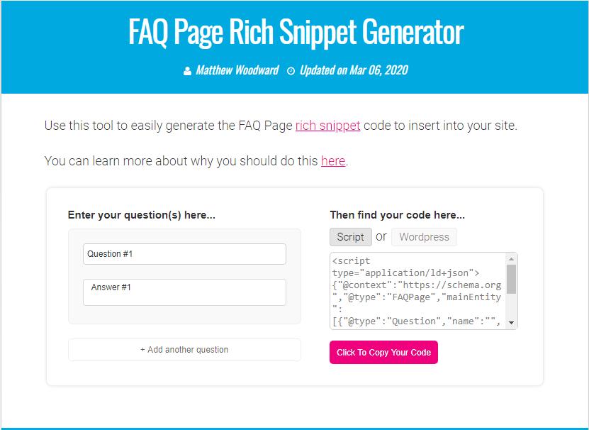 Creating FAQ Schema