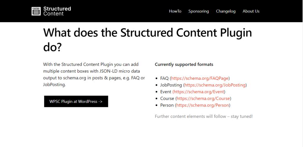 Structured Content Plugin